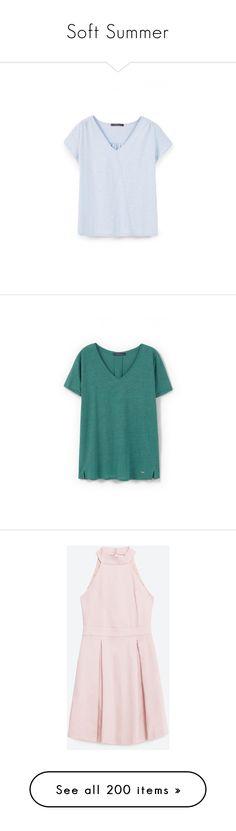 """Soft Summer"" by rara-nataliya ❤ liked on Polyvore featuring dresses, zara, pink halter dress, halter neck dress, halter neckline dress, halter-neck dress, pink dress, tops, blouses and shirts"