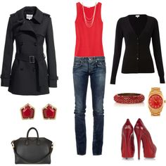 I don't think you can ever go wrong with red and black. Loubs and a Prada bag can't hurt, though!