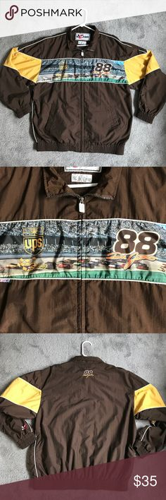 NASCAR Chase Authentics Nylon Jacket Chase Authentics NASCAR UPS Dale Jarrett nylon jacket. Item is used. No holes or stains. Pit to pit is 25 inches, shoulder to hem is 29 inches. All measurements are approximate and taken flat. Chase Authentics Nascar Jackets & Coats