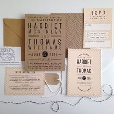 chevron type wedding invitation by pear paper co. | notonthehighstreet.com