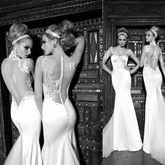 2014 Galia Lahav abendkleider embroidered lace open back wedding dress bridal gown US $219.00