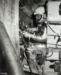 Project Mercury astronaut Virgil I. Grissom on the human centrifuge at the Aviation Medical Acceleration Laboratory in Johnsville, Pennsylvania. Astronauts In Space, Nasa Astronauts, Gus Grissom, Project Mercury, Nasa History, Space Cowboys, The Final Frontier, Space Race, Space Program