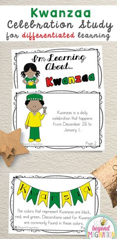 Kwanzaa celebration study for elementary children. Perfect to use for an around the world cultural unit, an international day, an international festival, a social studies unit, a cultural school project, a geography project, a cultural day, a cultural fair, a field day, or a multicultural day. #kwanzaa #celebration #worksheets #tpt #idea