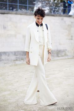 Paris Fashion Week ... White Suit #pfw #streetstyle