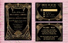 Great Gatsby Style Art Deco Wedding Invitation Suite With Rsvp Card And Wishing…