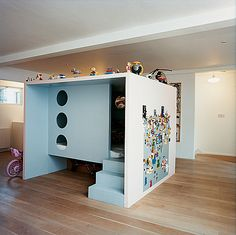 This children' playroom was designed by Danish furniture and product designer Nina Tolstrup and is made of MDF wood. Description from furnikidz.com. I searched for this on bing.com/images