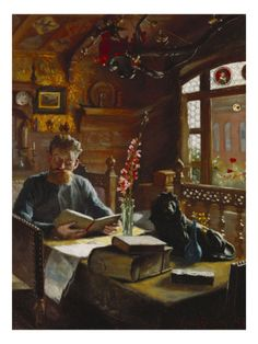 I imagine that he is in a cozy little pub somewhere seeking a respite from the outside world so as to enjoy the company of a pot of tea and an enthralling book.  What a lovely little place he's found, indeed!  (A Man Reading in an Interior by Knud Christian Soeborg)