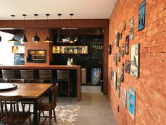 Here you will find photos of interior design ideas. Bar Interior, Interior Design, Diy Kitchen, Kitchen Design, Home Pub, Sweet Home, Cafe Bistro, Industrial House, New Homes