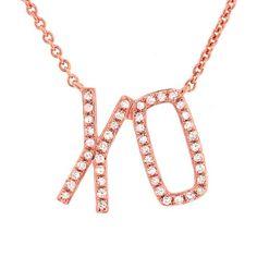 Image of Diamond XO Necklace, 14k Gold