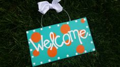 Aqua and orange polka dot  welcome sign  by whatsyoursigndesigns, $17.00