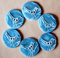 6 Ceramic Bird Buttons - Handmade Stoneware Bird Buttons in Denim Blue
