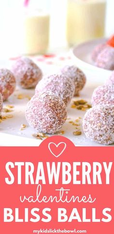 Strawberry Energy Bites Healthy nut free Low Sugar pretty in pink bliss ball.