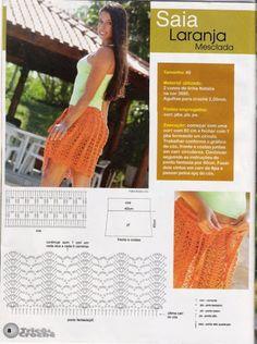 Saia laranja -Orange crochet skirt pattern