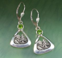 MOUNTAINTREE EARRING With Green Tourmaline Sterling by BandScapes, $175.00