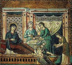 """""""Birth of the Virgin,"""" Commissioned by Bertoldo Stephaneschi, by Cavallini. c. 1290."""