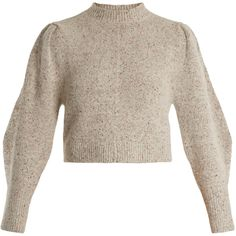 Isabel Marant Elaya crew-neck knit sweater ($640) ❤ liked on Polyvore featuring tops, sweaters, light grey, long sleeve tops, knit top, crew neck sweaters, knit crop top and knit sweater