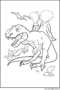 ausmalbild dinosaurier und steinzeit: steinzeit-vulkan