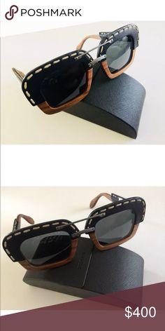 0e3c3370177b Prada Raw Wood Square Leather Sunglasses Prada Raw SPR 26R Wood Square  Black Leather Sunglasses PR