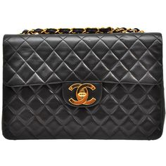 My favorite Chanel Vintage Quilted leather bag with logo found on Polyvore