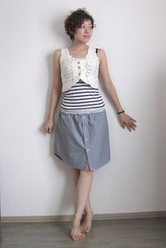 DIY button up shirt into a skirt. cut the fabric under the sleeves and use elastic band to make the waist.