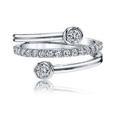 Sirena Diamond Fashion Layered Ring in 14k White Gold