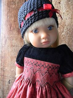 Holiday Smocked Dress for a Kidz'n'Cats Doll.........by lkb