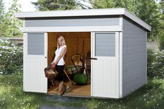 Weka Gartenhaus mit Wetterschutzlasur in grau