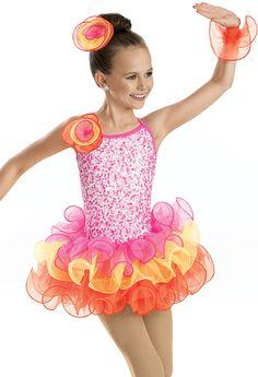 Neon Sequin Curly Hem Dress -Weissman Costumes