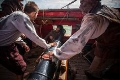 A gun crew for each cannon on a ship crew members have to fight while others sail the ship; all coordinated at the same time! Not all fun and games on a Pirate ship!