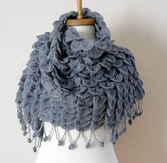 Crocodile stitch shawl, #crochet by sweetknitting, $90