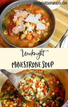 Weekday Minestrone Soup is a vegetarian soup packed with hearty vegetables, like tomatoes and zucchini, beans and pasta. Topped with shaved Parmesan and served hot. Perfect for any soup lover! Best Soup Recipes, Vegetable Soup Recipes, Vegetable Stock, Family Recipes, Free Recipes, Vegetarian Soup, Vegetarian Recipes, Healthy Recipes, Healthy Soup