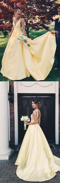 yellow long ball gown, 2018 long homecoming dress prom dress party dress