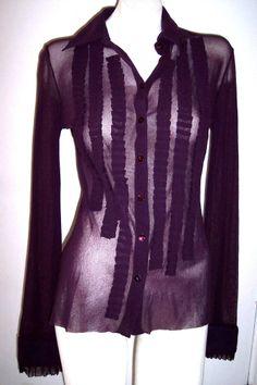 Fuzzi Top M Purple Nylon Ruffled Blouse Shirt Sheer Mesh Buttondown JPG Designer #Blouse #Casual