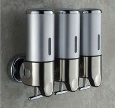 New Stainless Steel Bathroom Soap Dispenser Wall Mounted 3 Shampoo Holder