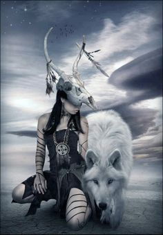 wolf and woman Anime Wolf, Wolf Spirit, Spirit Animal, American Indian Art, Native American Indians, Fantasy Kunst, Fantasy Art, Wolves And Women, She Wolf