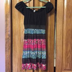 Black & colorful Delia's dress Worn once. Excellent condition! Perfect for many occasions! Delia's Dresses Midi