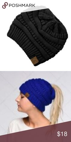 Ponytail Beanie Black CC ponytail  messy bun beanie CC Boutique Accessories  Hats Beanie 98927281c92d