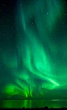 Northern Lights -- Green Background with reflections