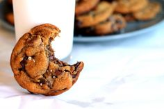nutella stuffed brown butter + sea salt chocolate chip cookies