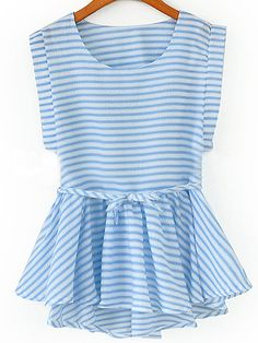 SheIn offers Sleeveless Striped Peplum Hem Top & more to fit your fashionable needs. Top Chic, Mode Hijab, Ladies Dress Design, Look Fashion, Spring Summer Fashion, Dress To Impress, Cute Outfits, Clothes, Peplum Tops