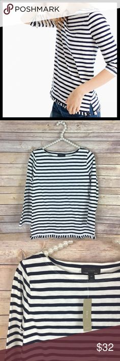 j. crew // striped boatneck t-shirt with fringe Your perfect, easy, classic striped T-shirt with a little something extra—sewn-in fringe on the bottom. Cotton. 3/4 length sleeves. Machine wash. Navy and white. New with tags. J. Crew Tops Tees - Long Sleeve