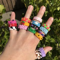 Fimo Ring, Polymer Clay Ring, Fimo Clay, Polymer Clay Crafts, Diy Clay Rings, Clay Art Projects, Cute Clay, Fun Diy Crafts, Funky Jewelry