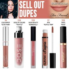 Too Faced Sell Out Melted Matte Liquid Lipstick Dupes