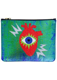 Red glitter acid heart is appliqued to this specially sourced iridescent vegan velociraptor skin clutch. Front of clutch has signature evil eye cut-outs in glitter and faux leather materials. This rad