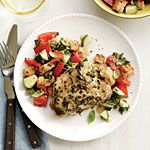 Dijon-Herb Chicken Thighs Recipe | MyRecipes.com with Tomato basil bread salad