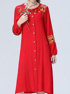 Vintage Patchwork Printing O-Neck Long Sleeve Loose Women Dress