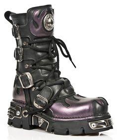 Unisexe New Rock 591-S1 Noir métallisé /& Rouge Flamme Cuir Gothique Emo Biker Boots
