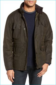 Brace for the cold with a rugged waxed cotton jacket by Barbour.