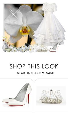 """""""Orchid flowers IN BACKGROUND - Contest!"""" by asia-12 ❤ liked on Polyvore featuring RALPH & RUSSO, Christian Louboutin, Judith Leiber and Kenneth Jay Lane"""
