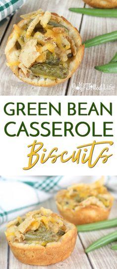 Green Bean Casserole Biscuits - a fun twist on the classic Thanksgiving dish! via @slavila